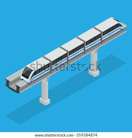 Monorail train, Monorail train icon, Monorail isometric, Monorail train vector, Monorail train transport, Monorail flat, Monorail illustration, Monorail Vehicles, Monorail modern high speed train - stock vector