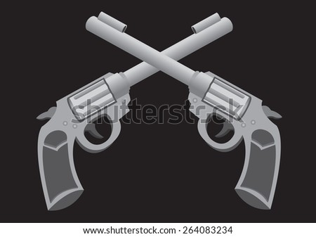 Monotone vector illustration of two retro revolvers in cross formation isolated on black background.  - stock vector