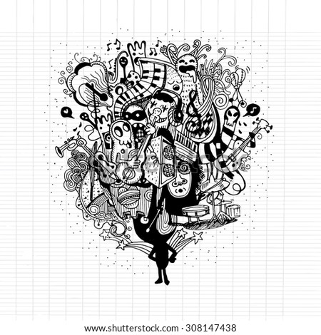 Monster band playing music hand drawn style ,Vector illustration.