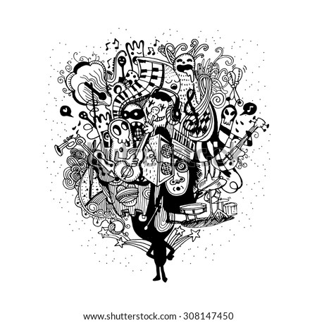 Monster band playing music hand drawn style ,Vector illustration.  - stock vector