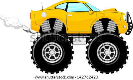 monster car sport 4x4 cartoon isolated on white background - stock vector