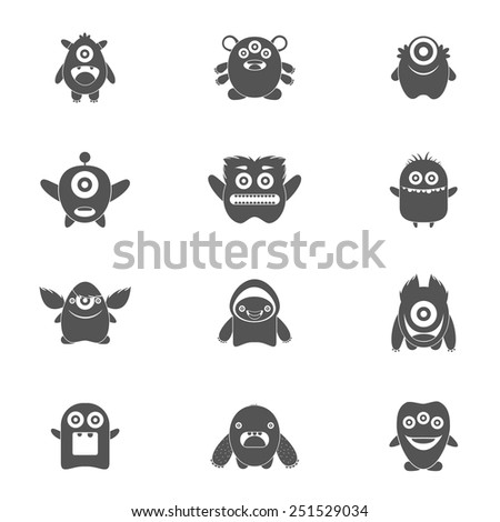 Monster characters group of mutant emoticons black icons set isolated vector illustration