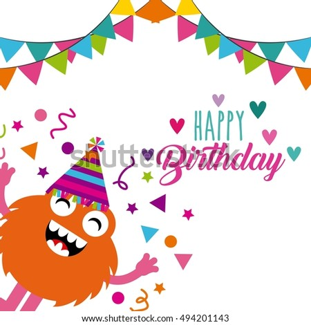 Monster Characters Birthday Party Vector Illustration Stock Vector