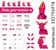 Monster creation kit. Set for construction of vector avatars monsters with different expressions of emotions. - stock vector