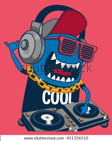 monster dj, party, music - stock vector