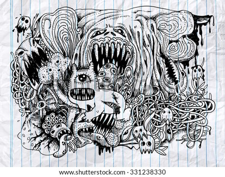 Monster drawing.Hand drawn monster with combination lines. Halloween vector illustration.