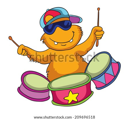 monster drummer, vector illustration on white background - stock vector