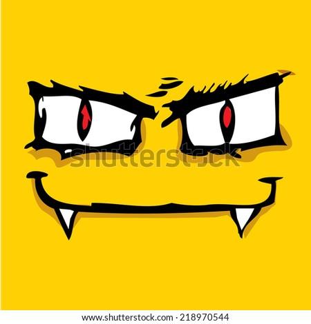 monster face vector illustration - stock vector