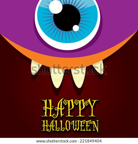 monster face vector illustration. happy halloween card or poster - stock vector