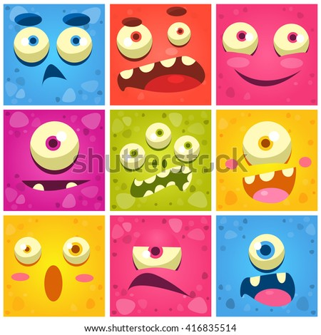 Monster Faces Collection Of Cute Cartoon Funny Images In Bright Color Childish Vector Design - stock vector