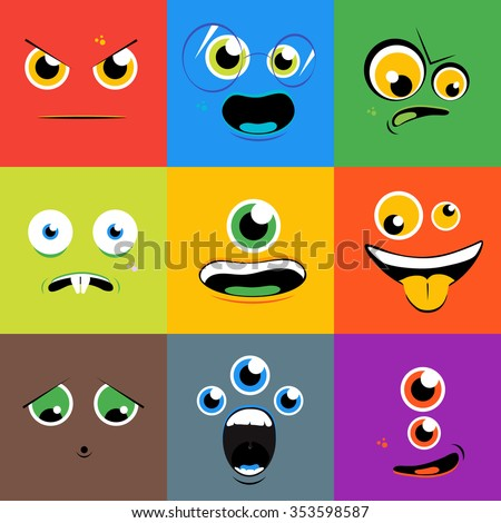 Monster faces icons set in flat style. Cartoon eye character, person with tongue, creature mutant, vector illustration