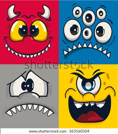 monster faces vector set - stock vector