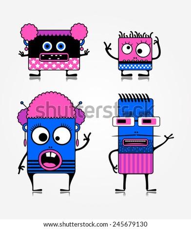 Monster family. Vector illustration - stock vector