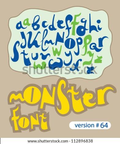 monster font - stock vector