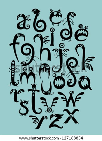 Monster font - stock vector