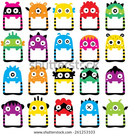 monster frames clip art set