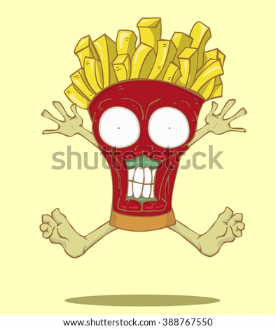 Monster French Fries. Junk food vector and illustration design