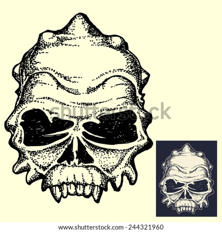 Monster head skull in dark and inverted color isolated  - stock vector