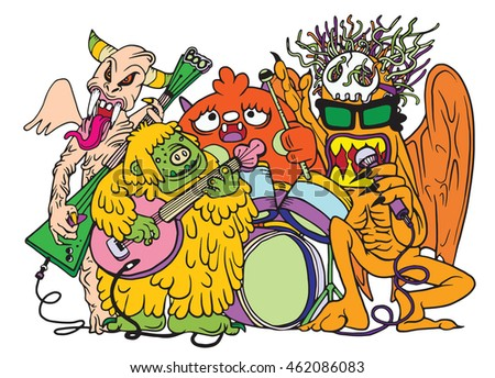 Monster music band playing music. hand drawn style ,Vector illustration.