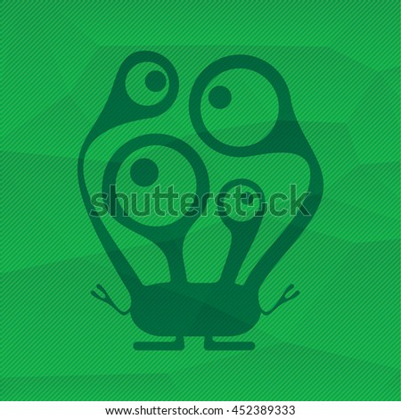 Monster on green polygonal background. Cartoon illustration
