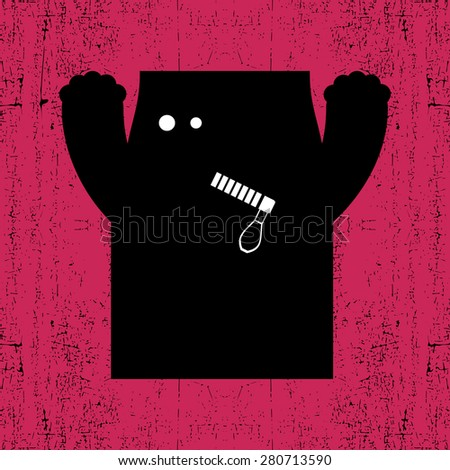 monster on grunge  background. Vector illustration - stock vector