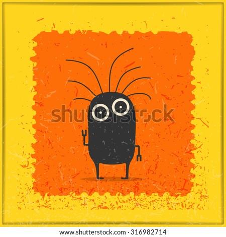 Monster on grunge postage stamp. Cartoon illustration, vector. - stock vector