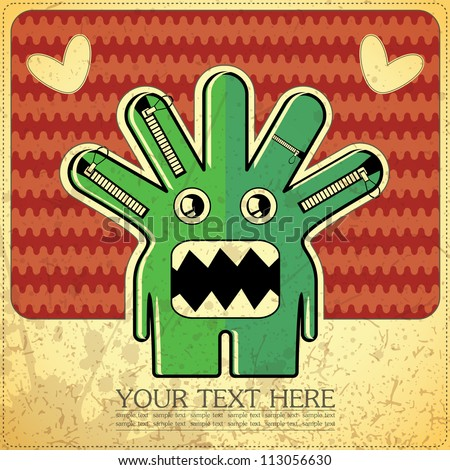 Monster on retro background