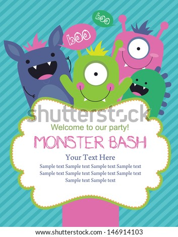 monster party card design. vector illustration