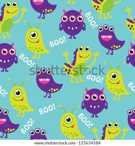 monster pattern design. vector illustration - stock vector