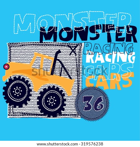 monster racing cars, T-shirt design vector illustration - stock vector