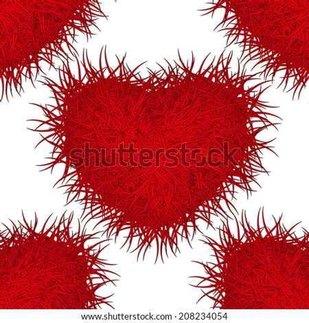 Monster red heart. Seamless pattern. Eps 10. - stock vector