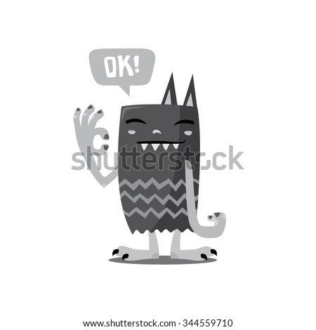 monster say it is okay, cute character, monster cartoon, flat illustration