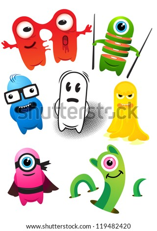 Monster Set! A collection of monster characters - stock vector