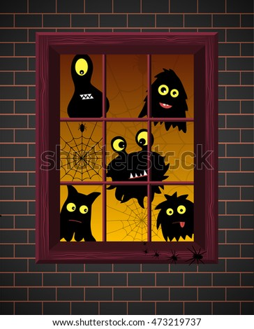 Monster silhouettes. Window. Vector illustration.Monster silhouettes on window with evening light,brick wall background. Cute monsters. Vector illustration for halloween.