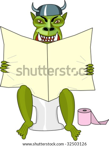 Monster sits in toilet and reads newspaper.