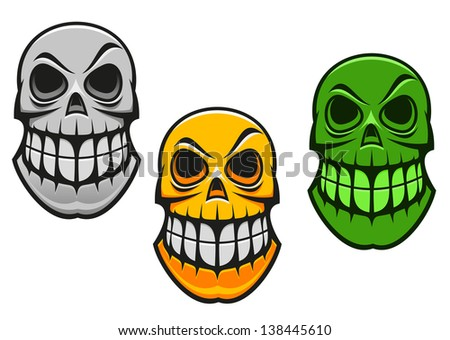 Monster skull in cartoon style for halloween design. Jpeg (bitmap) version also available in gallery - stock vector