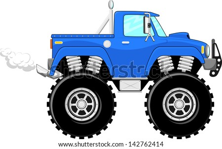 monster truck 4x4 cartoon isolated on white background - stock vector