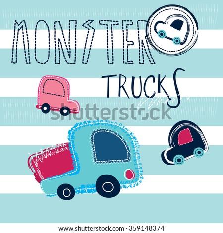 monster trucks, cars on striped background vector illustration - stock vector