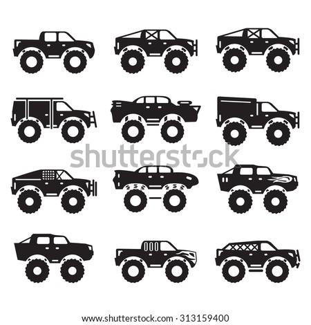 Monster trucks vector set  - stock vector