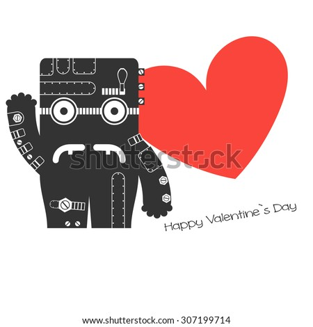 Monster with heart - stock vector