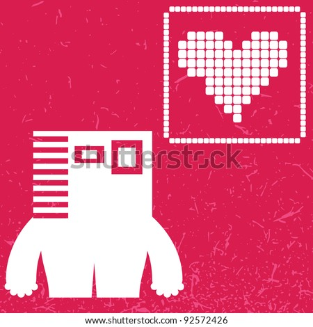 Monster with heart on color background