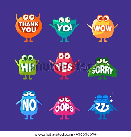 Monster With Words In Mouth For Teeth Set Of Funny Cartoon Emoticon Character Sticker Isolated On Blue Background - stock vector