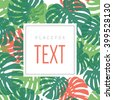 Monstera leaves card template with place for text. Vector. - stock photo