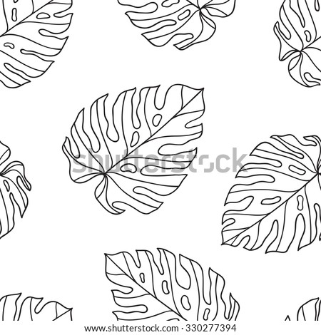 Monstera. Seamless pattern with tropical leaves. Seamless vector background can be used for card, postcard, poster, wallpaper, textile design, cover, banner. - stock vector