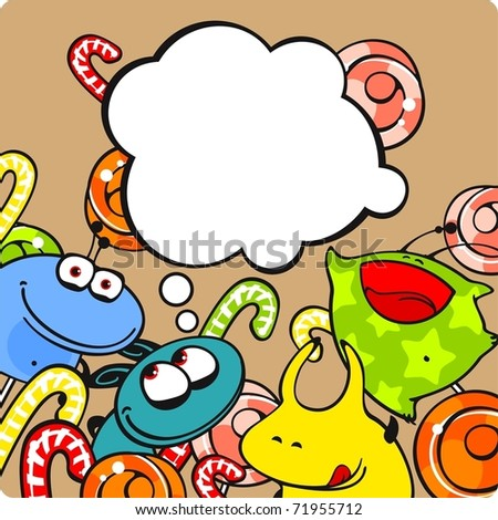 Monsters and candies - stock vector