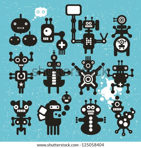 Monsters and robots collection #21. Vector illustration. - stock vector
