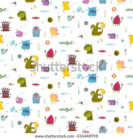 Monsters for Kids Design seamless pattern background. Seamless pattern Fun Cute Cartoon characters for Kids Design background. Vivid fabulous incredible creatures design isolated on white. - stock vector