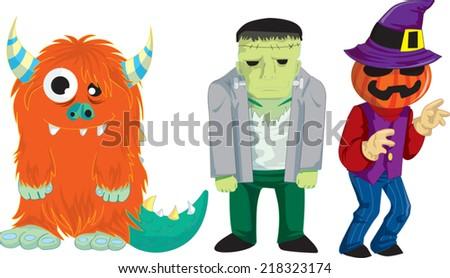 monsters frankenstein pumpkin - stock vector