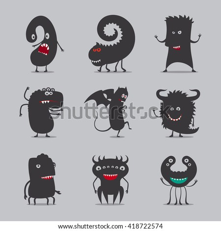Monsters icons. Cute black monsters vector illustration - stock vector