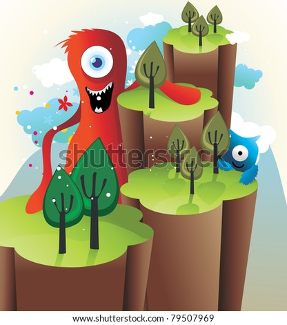 monsters in the mountains vectors